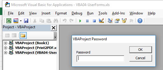 open VBAProject Password